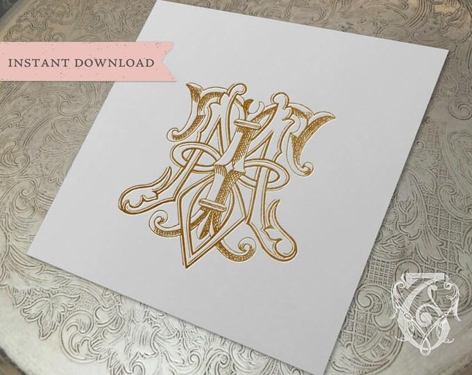 Vintage Wedding Monogram MT TM Digital Download M T