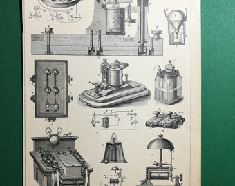Electrical Telegraphs, original old print from an old german book, 1895