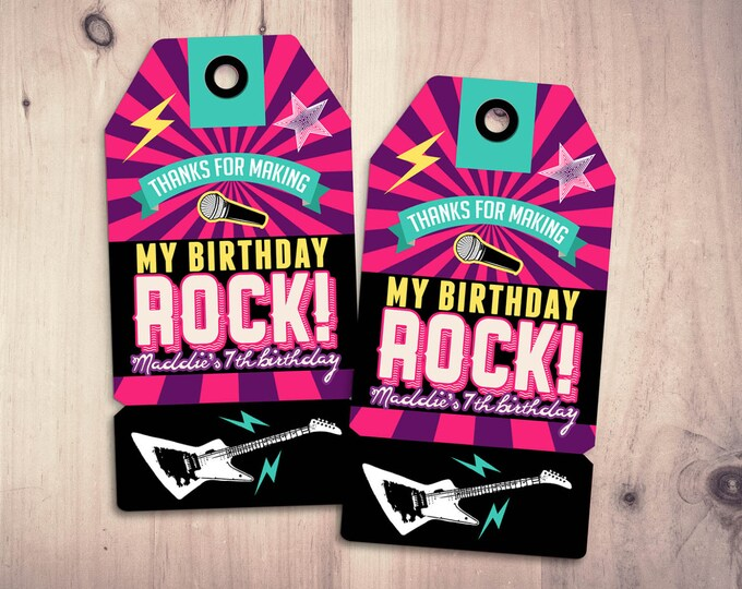 Party favor tag, Rock Star birthday, favor, boy birthday, personalized label, rock star party, rock star birthday, rock star, 80's, retro