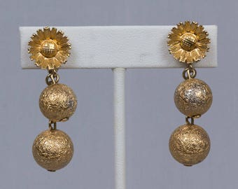 Gold clip earrings Clip on Dangle, Gold textured balls, Bale is a large gold daisy or sunflower Signed Marino Flower earrings Pristine