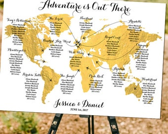 Travel theme wedding etsy adventure is out there disney themed world map seating plan fairytale adventure travel theme gumiabroncs Choice Image