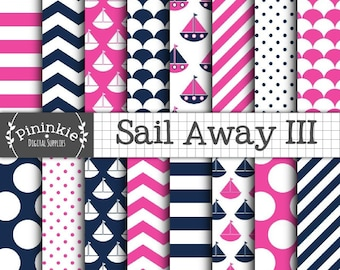 Girl Nautical Digital Paper, Nautical Scrapbook Paper, Baby Girl Pink and Blue Digital Paper, Instant Download, Boats, Polka Dots, Chevrons