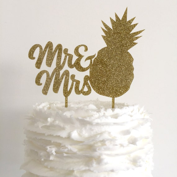 Mr Mrs Pineapple Gold Glitter Wedding Cake Topper - Pineapple Wedding Cake