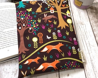 Woodland Book Buddy, Small Medium Large Book Sleeve, Book Lover Gift, Foxtrot Book Pouch, Paperback Cover, Bright Book Sleeve, Bookworm Bag