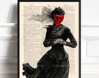 Mask of Red Death, Book Lover Poster, Pastel Goth Print, Gothic Boy Gift, College Dorm, Masque of Red Death, Literary Poster, Literary 083