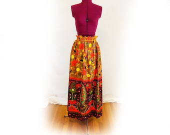 Vintage 60s, 70s Floral and Paisley Skirt Long Funky Maxi Skirt, One of a Kind, Long Skirt, Colorful Skirt, Festival Skirt, Psychedelic