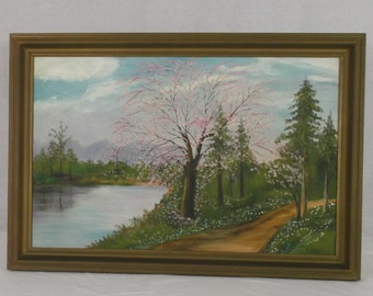 Vintage Oil Painting On Canvas  Spring Trees with Pink Blossoms by a Pond and Trail By Artist E. Hale