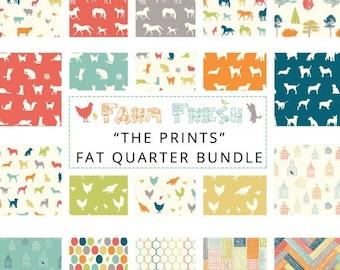 Birch Fabrics The Prints Organic Cotton Fabric Quarter Bundle Farm Fresh Collection 20 Fabrics