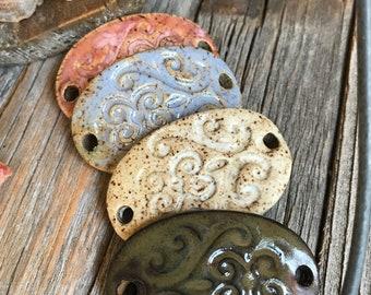1 Ceramic Oval Bracelet Connector   DIY Stoneware Jewelry   Jewelry Supply   Ceramic Bracelet Bar   Pottery Mason Jar or Candle accent