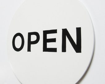 """The Pure White Open Closed 12""""/Open Closed Sign/Hand Painted Open Closed/Retail Open Closed/"""