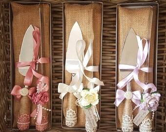 Wedding Cake Server Set, Lace & Twine Cake Knife Set, Cake Knife, Rustic Wedding Accessory, Decorated Cake Knife, Wedding Photography Prop