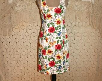 90s Summer Dress Cotton Sheath White Floral Dress Small Midi Casual Sleeveless Women Dresses Size 6 Dress Vintage Clothing Womens Clothing