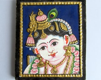 Krishna Tanjore Paintings.India Paintings.Four pieces set.