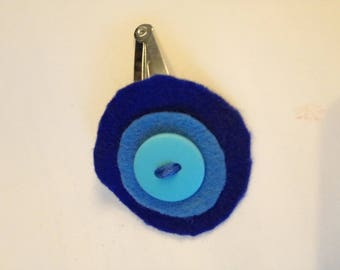 Barrette for little girl in blue tones