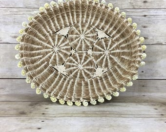 Vintage Woven Cowrie Shell Basket - Boho Bohemian Jungalow Home Decor - Wall Basket Art Collection