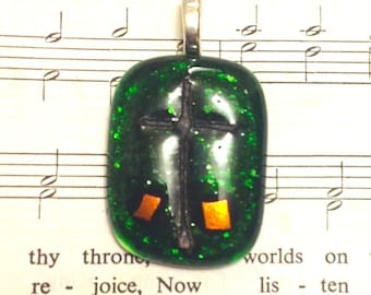 Dichroic Glass Pendant for Necklace - green cross #13