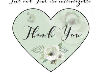 Wedding Stickers - Wedding Labels - Custom Stickers - Mint Green Party Decor - Rose Sticker Set of 30