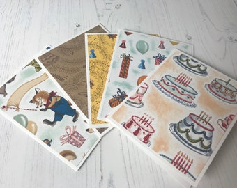 Whimsical Birthday Cards-Set of 5