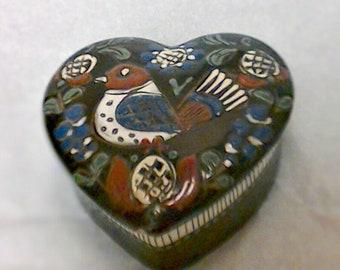 Vtg Schweizer Heitmatwerk Swiss Heart Shaped Trinket Box with Bird on Lid