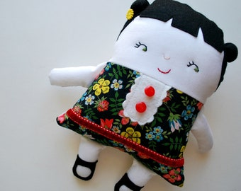Black Hair Two-Faced Friend Doll Made with Liberty Of London Fabrics - Stuffed Toy - Girl Dolly - Double-Sided - Topsy-Turvy - Emotions