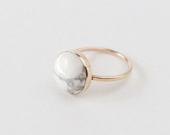 Marble Ring - Gold Filled, 12mm White Howlite Natural Stone