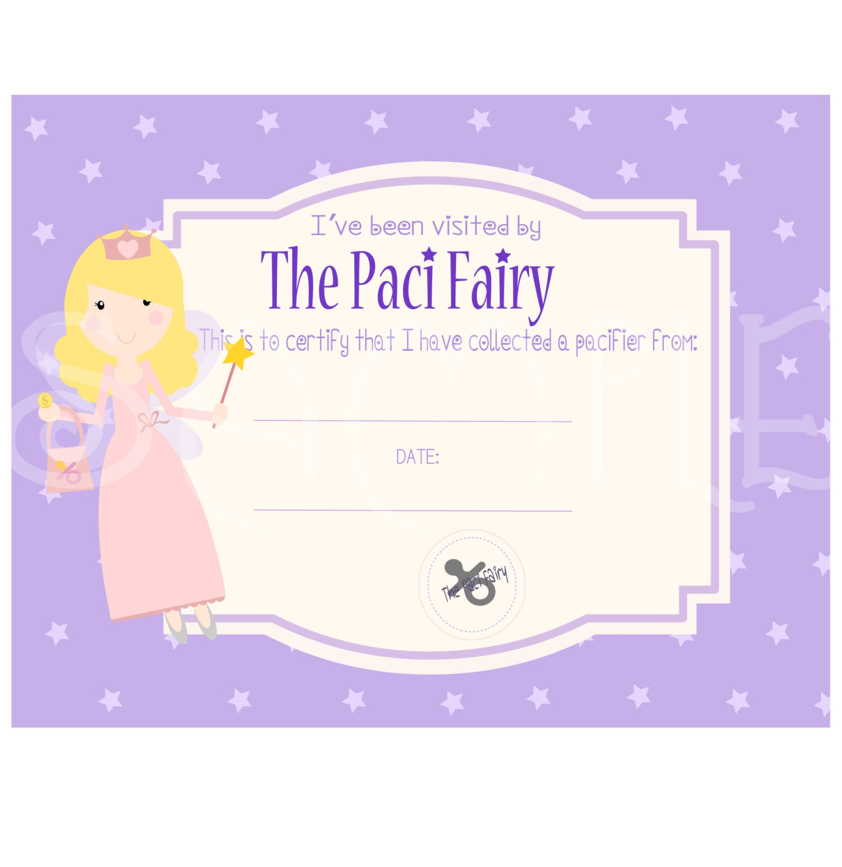 Sale paci pacifier fairy certificate digital printable instant zoom xflitez Choice Image