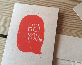 Hey You Talk Bubble -- Block Print Notecard in red and kraft