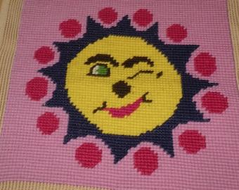 Mid Century Small Needlepoint  Sun