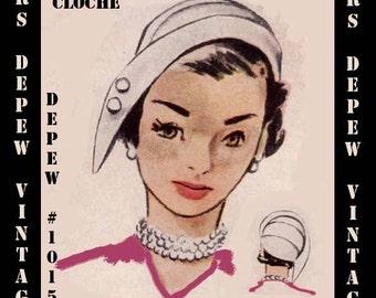 Vintage Sewing Pattern 1950's Cloche Hat PDF Printable Copy Depew 1015 -INSTANT DOWNLOAD-