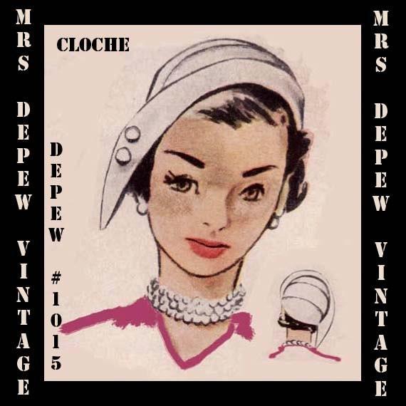 Vintage Sewing Pattern 1950\'s Cloche Hat PDF Printable
