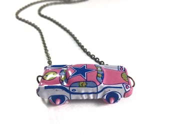 Car Necklace, Assemblage Necklace, Novelty Necklace, Vintage Tin Toy, Reclaimed Jewelry, Assemblage Jewelry, Upcycled Jewelry