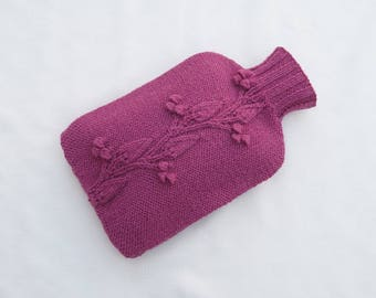 Knitted hot water bottle cozy - Raspberry Pink - MIDFORD