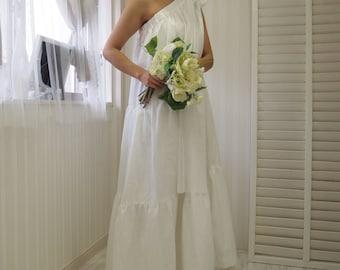 cotton wedding dress,casual wedding dress,simple wedding dress,one shoulder dress,modern wedding dress,beach wedding dress,white maxi dress