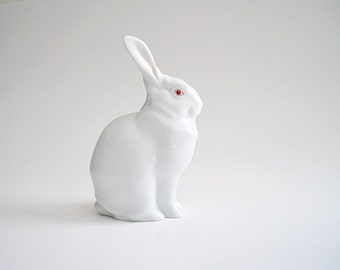 Herend Rabbit Figurine White Porcelain Bunny Figurine Hungary