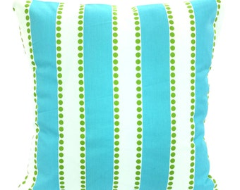 Aqua Stripe Pillow Covers, Decorative Throw Pillows, Cushions, Girly Blue Zig Zag Chevron, Couch Bed Sofa Pillows, One or More ALL SIZES
