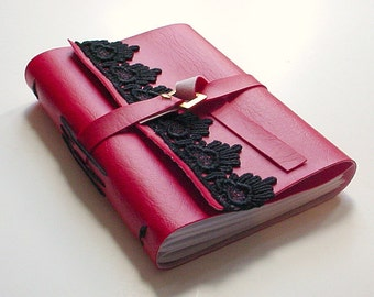 Red Faux Leather Journal - Blank Journal - Blank Notebook