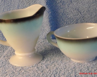 """Cup and and creamer made by the """"Hazel Atlas Glass Co."""""""
