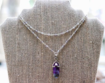 Lavender and Silver Layered Choker with Gemstone Pendant