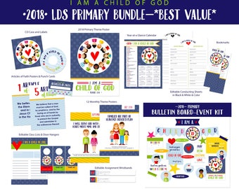 2018 LDS Primary Theme Value Bundle-I Am A Child of God-Sharing Time-DIY Instant Download Printables-LDS-Mormon-Presidency Helps