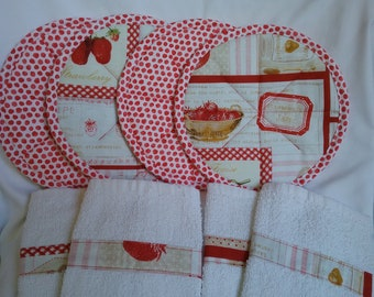 Red and White.  Strawberries.  Polk-a-dots.  Hot pads. Pot holders.  Terry kitchen towels.