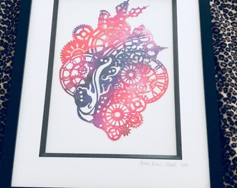 Handcut Papercut Steam Punk Heart
