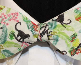 MONKEY in the MIDDLE--Handmade bow tie in novelty cotton,  brown monkeys in JUNGLE on white field; bow tie, made in Portland