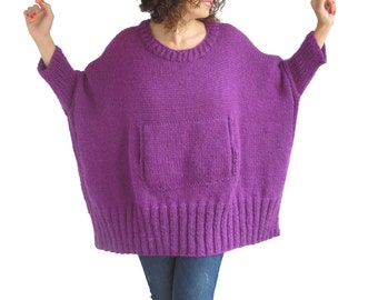 Purple Hand Knitted Sweater with Pocket Plus Size Over Size Tunic - Dress Sweater by Afra