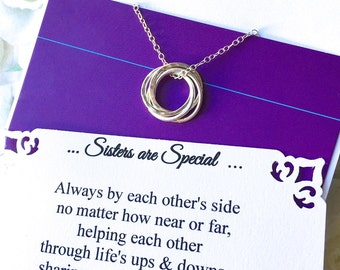 FOUR SISTERS Necklace with POEM Four Sisters Sterling Silver INSEPARABLe RINGs Connected Circles 4 Rings for 4 Sisters Infinity Gift Wrapped