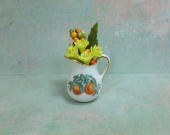 Dollhouse Miniature Porcelain Pitcher with Flowers