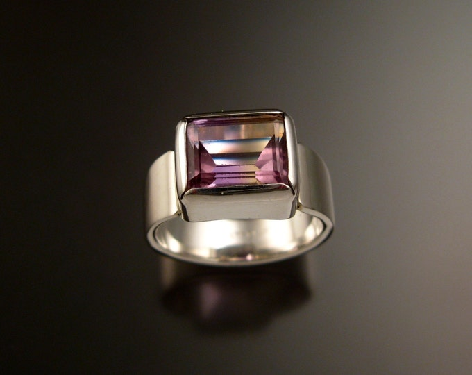 Ametrine Ring Sterling Silver Bezel set East West wide band rectangular natural gemstone