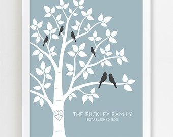 Custom Family Sign, Gift for Family Name Art, Anniversary Gift for Wedding Present, Family Tree with Birds, Modern Home Decor