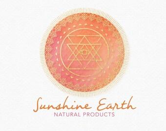 Sun Mandala Logo Design , Turquoise and Orange , Earthy Logo , Eye of God , Geometric Logo , Sacred Geometry , Sacred Symbols , Earth Logo