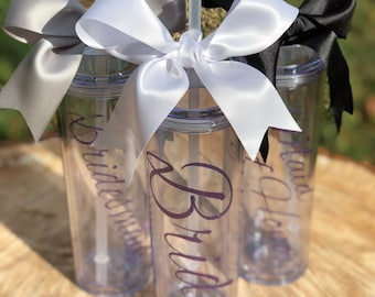 Wedding party tumblers, bridesmaid gifts, tumblers, bride gift, bridesmaid thank you, sale, bachelorette party favor, glitter, mint, pink