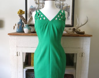 90s wiggle dress, body con with cage detail, kelly green silk, XS